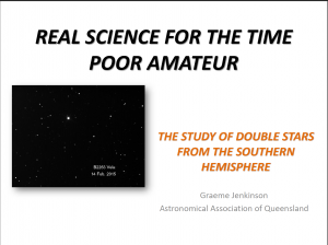 Real science for the time poor amateur -  The study of Double Stars from the Southern Hemisphere