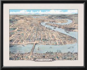 Bird's eye view of Brisbane 1888 – W. A. Clarson