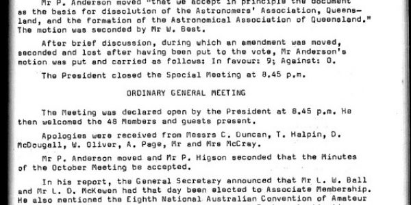 Minutes of the Special Meeting