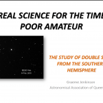 Real science for the time poor amateur –  The study of Double Stars from the Southern Hemisphere